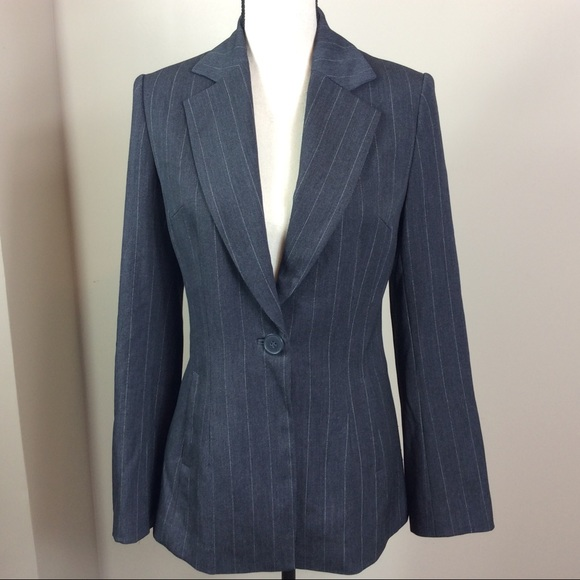 H&M Jackets & Blazers - H&M Gray Blazer With White Strips  Size 8